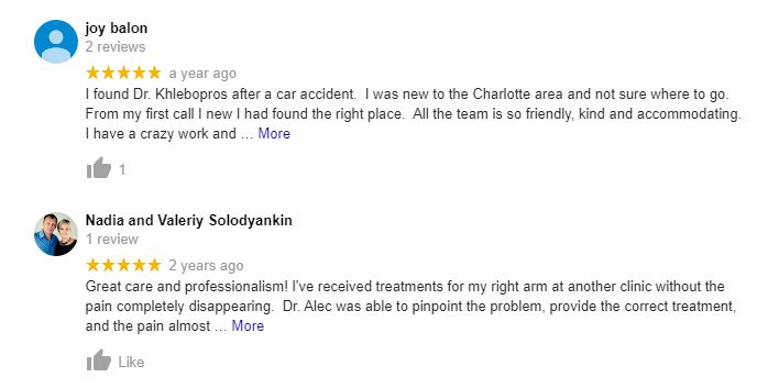 Chiropractic Charlotte NC Testimonials Twenty Five